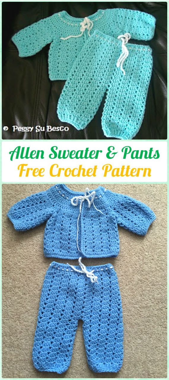 Crochet Allen Sweater & Pants Free Pattern - Crochet Baby Pants Free Patterns