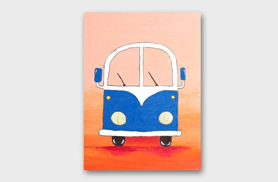 Summer decor VW painting Beach decor Summer Home decor Housewarming gift for friend Wall art Gifts for him Gift ideas Interior decor