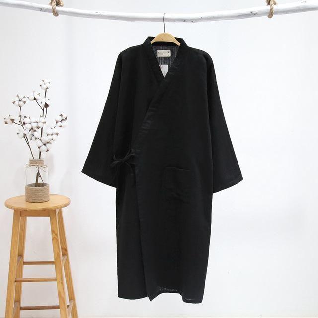 4e680e534b Male Simple Japanese kimono robes men summer long sleeved 100% cotton  bathrobe fashion casual waves dressing gown men bathrobe