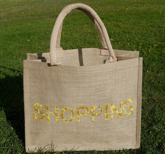 Natural Jute Shopping Tote Applique Finish by HomebirdTextiles, £15.00