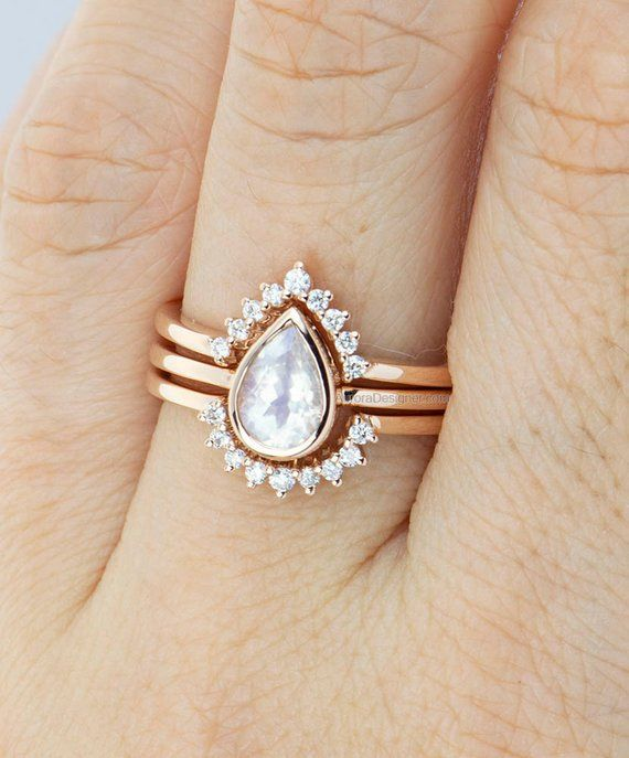 Pear Shape Rainbow Moonstone 14K Gold Engagement Ring Set with Two Diamond Nesting Wedding Bands Faceted Crown Tiara Stacking Rings AD1587