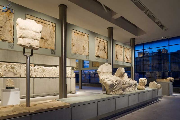 Final level of the new Acropolis museum. Parthenon room. We can see the Parthenon atop the Acropolis. This last level was created following the exact dimensions and orientation of Parthenon. The trasparent glass walls allows visual contact with the Parthenon