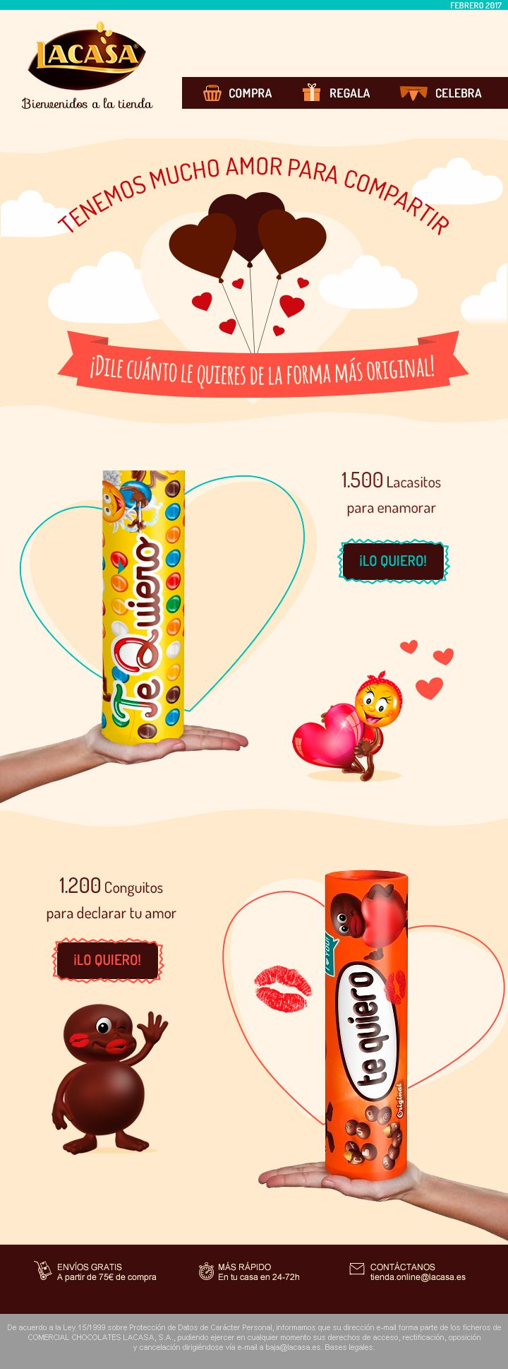 #CHOCOLATES #LACASA · Special Newsletter for Valentines Day, promoting personalisable products · February 2017 · http://snip.ly/wsa1i