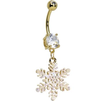 Clear CZ Gold Plated Glittering Snowflake Dangling Belly Ring #bodycandy #bellyring #snowflake $9.99