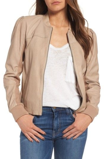 Free shipping and returns on Hinge Shrunken Leather Bomber Jacket at Nordstrom.com. This supersoft leather jacket in an athletic bomber silhouette has a modern feel with subtle pleats at the sleeves and insets of ribbed knitting.
