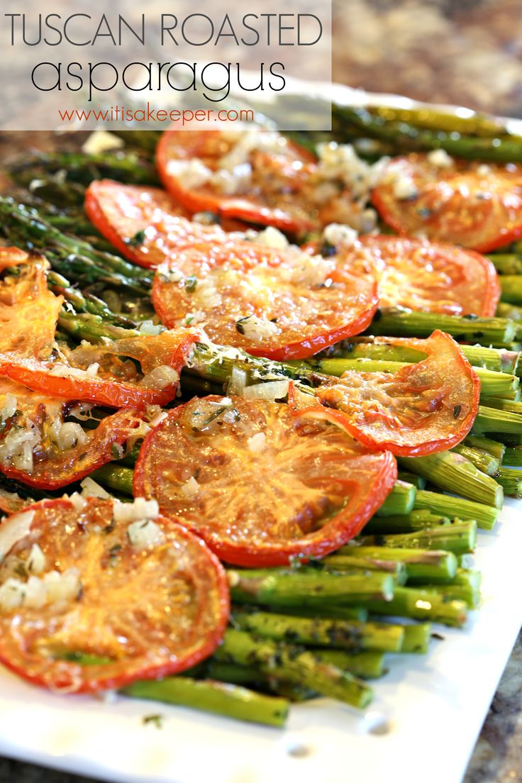 Tuscan Roasted Asparagus - One of my favorite healthy easy dinner recipes. It's easy to make and very flavorful.