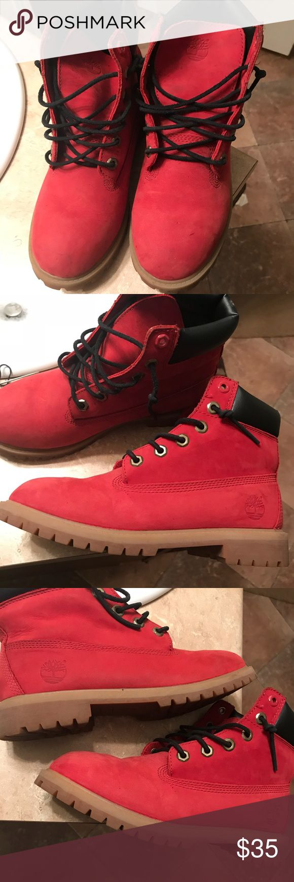 Red Timberlands Good condition size 6 in kids Timberland Shoes Boots