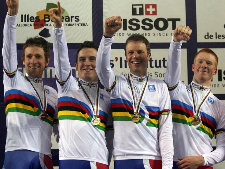 GERAINT THOMAS CAREER GALLERY  He dovetailed his career with a wildly successful British track squad, seen here after taking the team pursuit world title in 2007