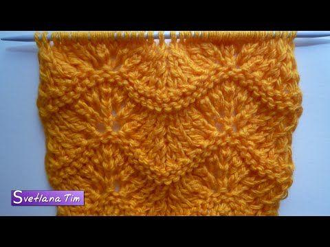 Павлиний Хвост (вариант3). Вязание спицами. Волнистый ажурный узор на спицах # 243 — Яндекс.Видео