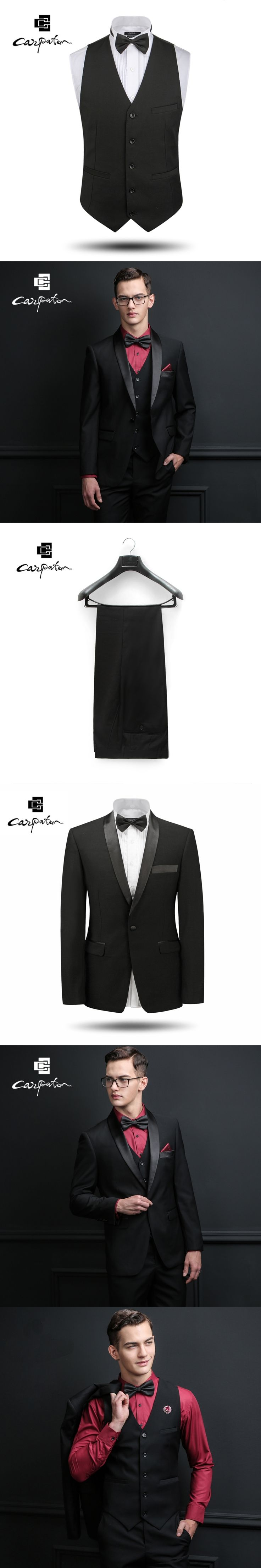 Carpaton Men Suit Classic Black Lattice Designer Three Piece Suit Brand Skinny Tuxedo Large Size Grooms Wedding Suits For Men