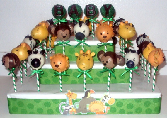 safari themed cake pops