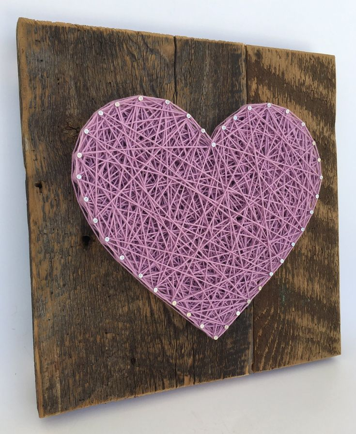 Large reclaimed wooden Lavender string art heart sign -A unique gift for Mother's Day, Weddings, Anniversaries,Birthdays, Valentine's Day, Christmas, new baby girl and house warming gift.