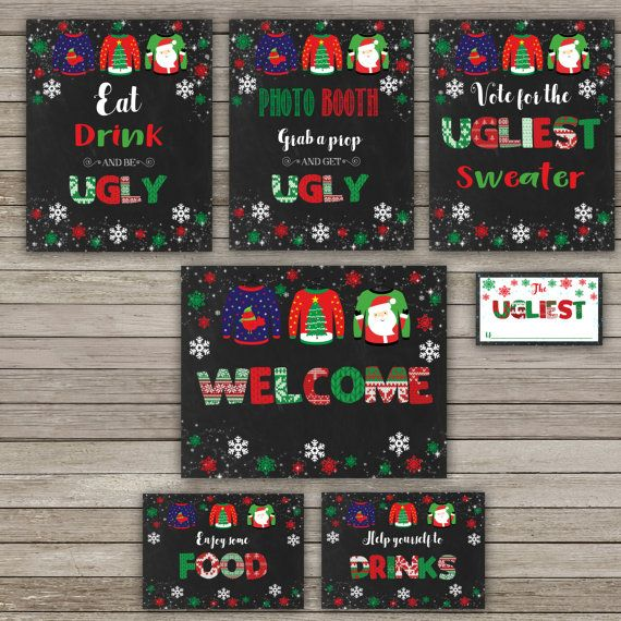 Ugly Sweater Party Christmas Party Signs by RainbowSweetStudio