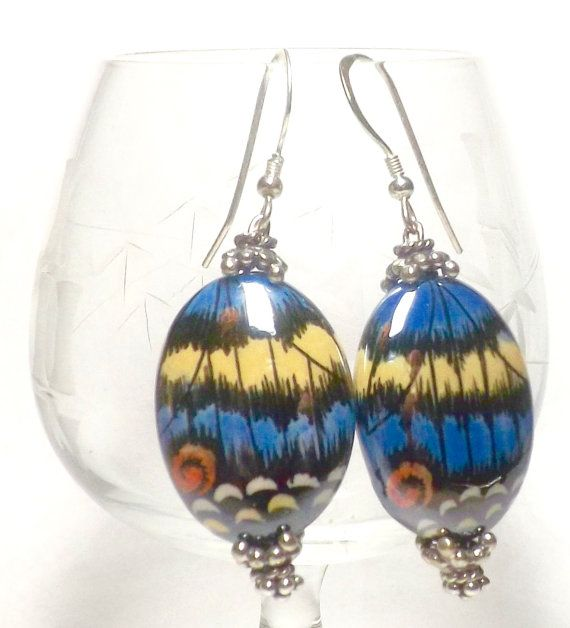 Porcelain Butterfly Wing Earrings Butterfly by EclecticDesigns