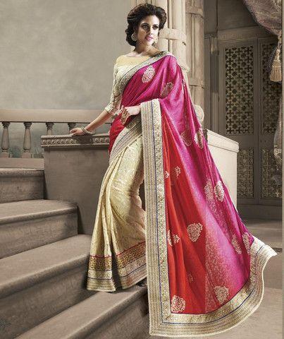 Pink and Cream Color Half Jacquard Crepe and Half Net Designer Sarees : Shehzaadi Collection YF-20619