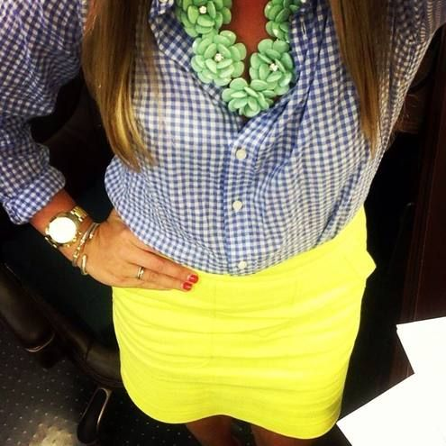 Blue Gingham Blouse and Yellow Skirt
