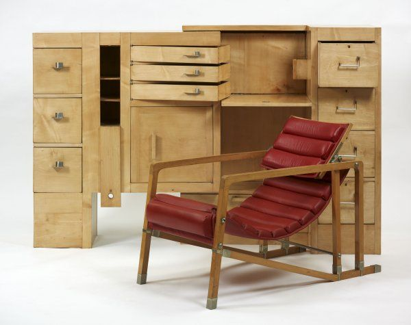 Eileen Gray's incredible architectural cabinet, c. 1926, and Transat chair, c 1927. From the National Museum of Ireland.