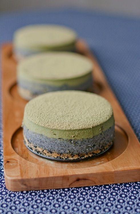 Matcha and Sesame Seed Cheesecakes