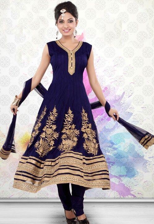 Indická pandžábí | Standardní velikosti | ORIENT šaty tmavě modré exclusiv, vel. S až XL | Syluska.cz- orient móda