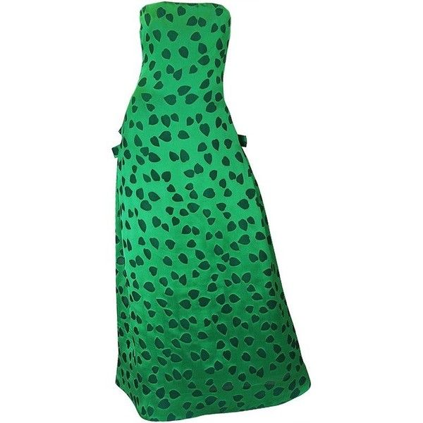 Preowned 1980s Arnold Scaasi Boutique Green Strapless Dress With... ($775) ❤ liked on Polyvore featuring dresses, evening gowns, green, strapless cocktail dresses, strapless corset, corset cocktail dress, corset dresses and green corset dress