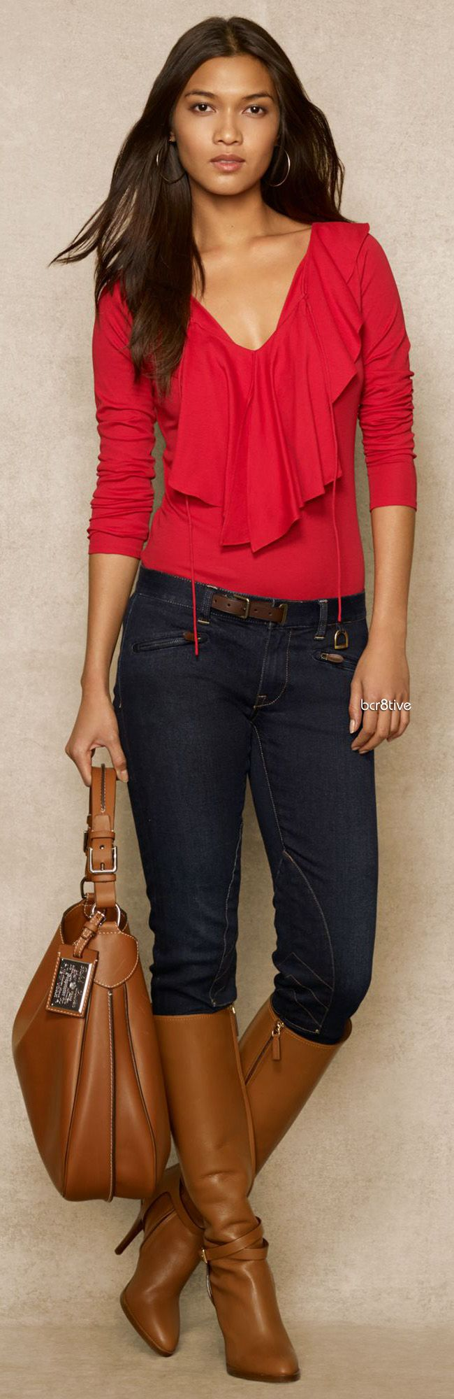 Ralph Lauren Blue Label Ruffled Cotton Jersey Top
