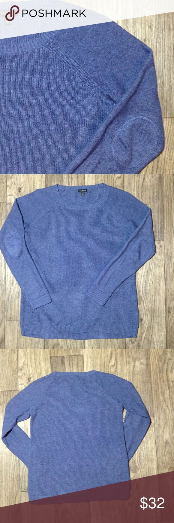 Talbots blue knit elbow patched sweater Sz XS Talbots cable knit blue elbow patched pullover sweater Sz xsmall in great condition. If you have any questions please leave a comment and I'll get back to you asap. Thank you! Talbots Sweaters Crew & Scoop Necks