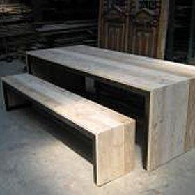 mesa de madera reciclada, hecha a medida. www.almacen5.es