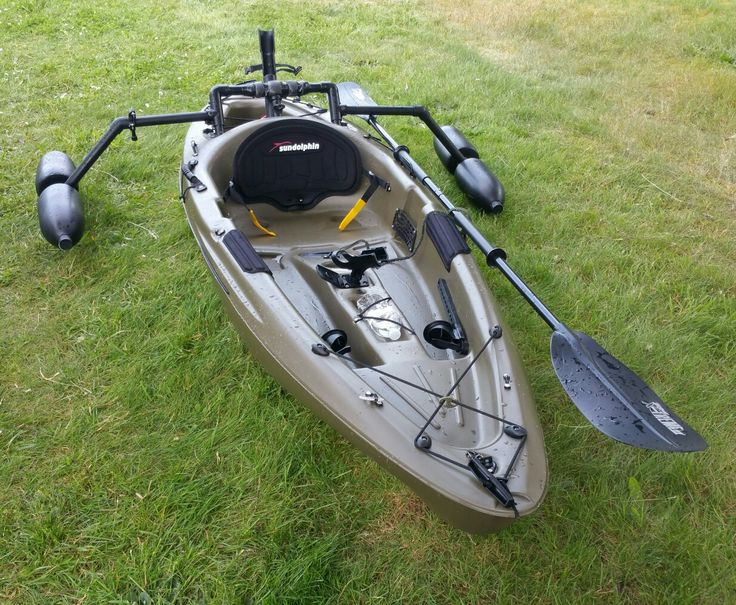 My sundolphin journey 10ss with outriggers i created from for Kayak accessories fishing
