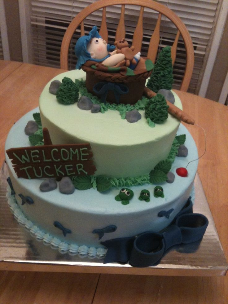 fishing baby shower cake - buttercream icing, everything else is sculpted out of fondant.