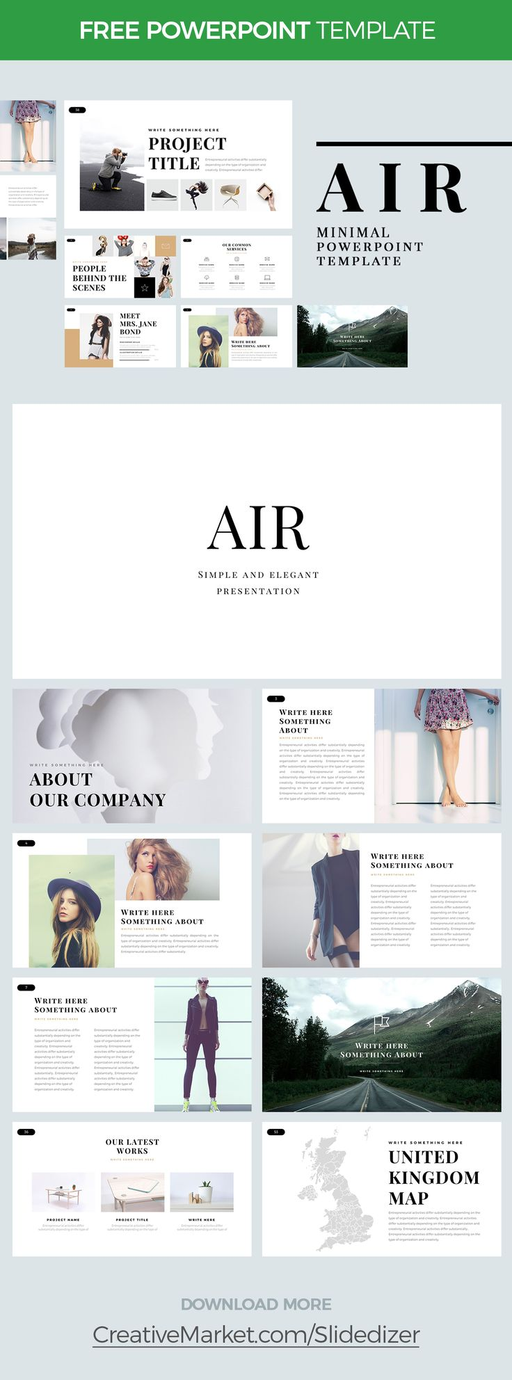 AIR - FREE MINIMAL POWERPOINT TEMPLATE on Behance