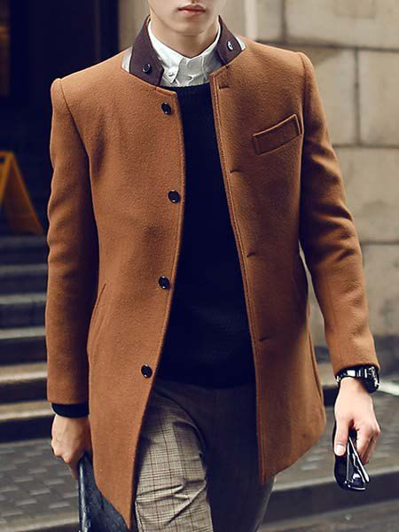 Slimming Stand Collar PU Leather Spliced Color Block Long Sleeves Woolen Blend Coat For Men