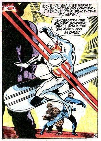 "Galactus puts the smack down, ""You shall roam the galaxies no more"", Silver Surfer, John Buscema,"