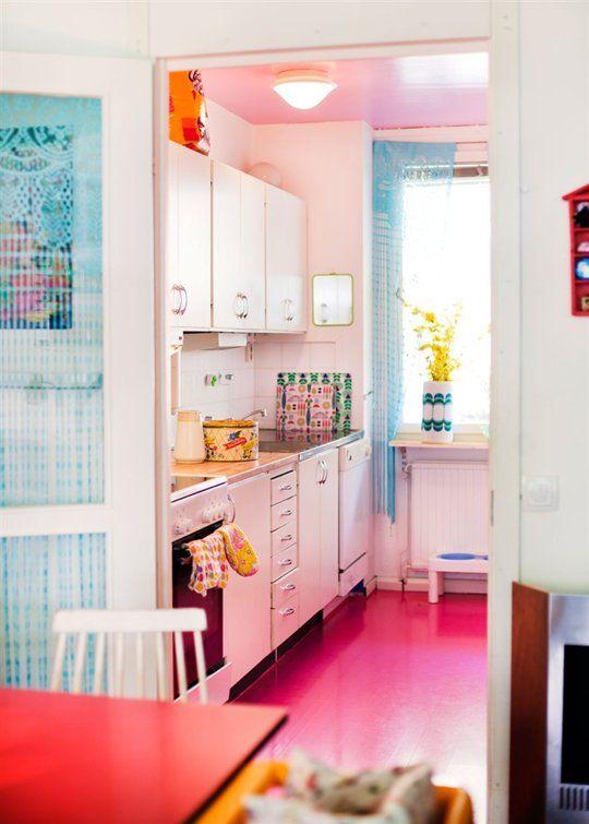 Look! A Hot Pink Kitchen Floor — Kitchen Inspiration