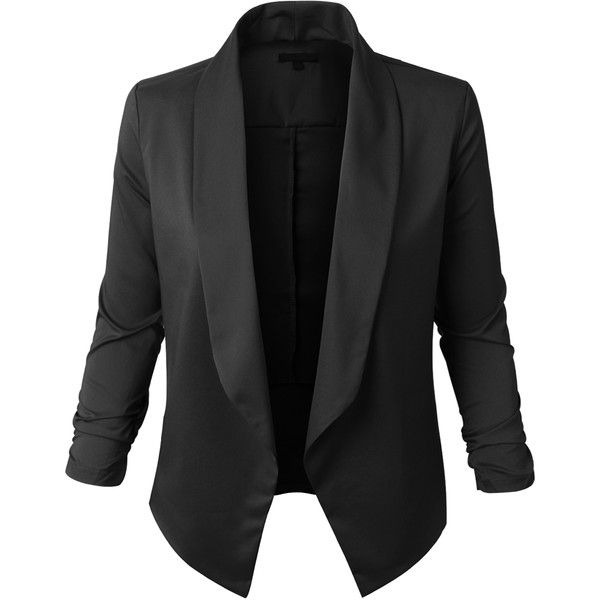LE3NO Womens Lightweight Open Front Draped Tuxedo Blazer Jacket ($19) ❤ liked on Polyvore featuring outerwear, jackets, blazers, tuxedo blazer, open front jacket, lightweight blazer, tux jacket and drapey blazer