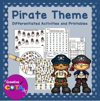 Great activities for National Talk Like a Pirate Day, Tuesday September 19, 2017. This is a Pirate unit bundle that includes 20 themed activities for a total of 38 differentiated activities/worksheets which incorporate math, literacy, writing, fine motor, gross motor