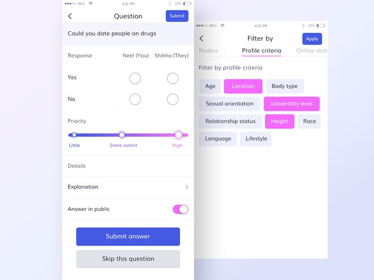 Questions and filter by section – iOSUp