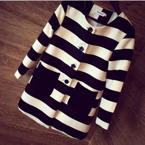 Aliexpress.com : Buy 2016 New Style Spring & Autumn Women Outerwear Striped Printed Jacket Slim Casual Coat from Reliable coats homes suppliers on MDINI