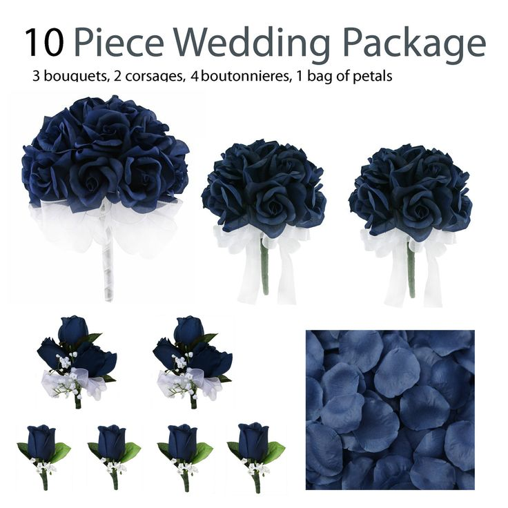 TheBridesBouquet.com - 10 Piece Wedding Package - Silk Wedding Flowers - Bridal Bouquets - Navy Blue Rose Bouquets, $99.99 (http://www.thebridesbouquet.com/10-piece-wedding-package-silk-wedding-flowers-bridal-bouquets-navy-blue-rose-bouquets/)