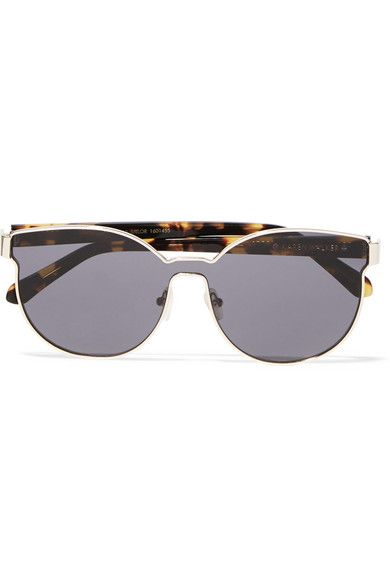Gold-plated metal, tortoiseshell acetate  100% UV protection  Come in a leather hard case