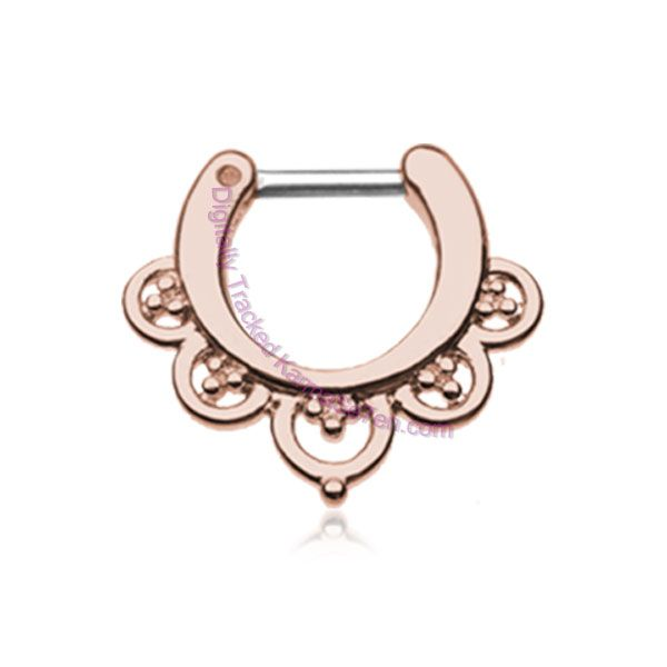 This Rose Gold Imperial Septum Clicker Rings will look fabulous in your septum piercings with the soft and plush accents of the rose gold colour will suit all skin tones and the hippie designed ring will gently cup around your nasal septum. Decking out your septum piercing has never been easier, no longer do you only have a small and boring selection of Septum Bullets and B.C.R's, but a wide and large range of funky, feminine and fantastic septum clicker rings. Besides the fact that this ...