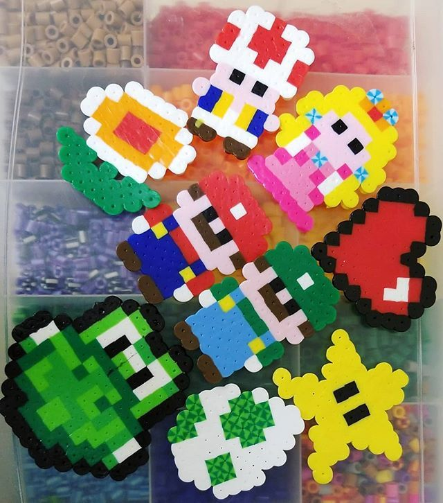 Been busy adding to my #mario #perler collection tonight!  What's your favorite one? Leave a comment! . . . . #mariokart #peach #yoshi #luigi #nintendo #nintendolife #perlers #perlerdesign #perlerart #perlerbeads #gaming#streaming #videogames #games #twitch #twitchlove #pirate #unicorn #star