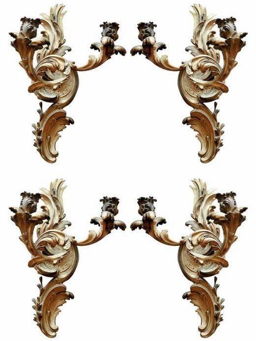 Group of Four 19th Century Fine Dore Bronze Two-Arm Sconces – 17.5″H x 11″W – ID# – 2045 – $12,500.00 (Villa Melrose) #antiques #sconces