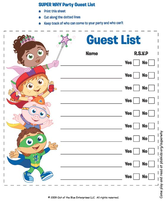 136 best Super Why Printables images on Pinterest Anniversary - birthday party guest list