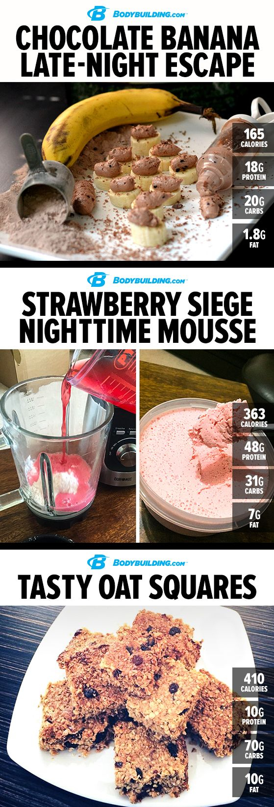 6 Sweet Nighttime Protein Treats. Make sure your last meal of the day is a tasty, muscle-building one with these sweet recipes.
