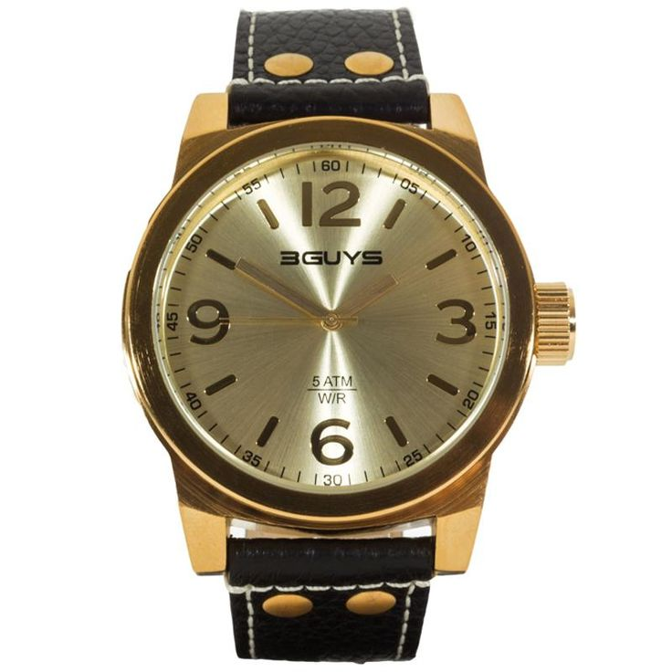 Ρολόι 3GUYS Unisex Gold Case Black Leather Strap