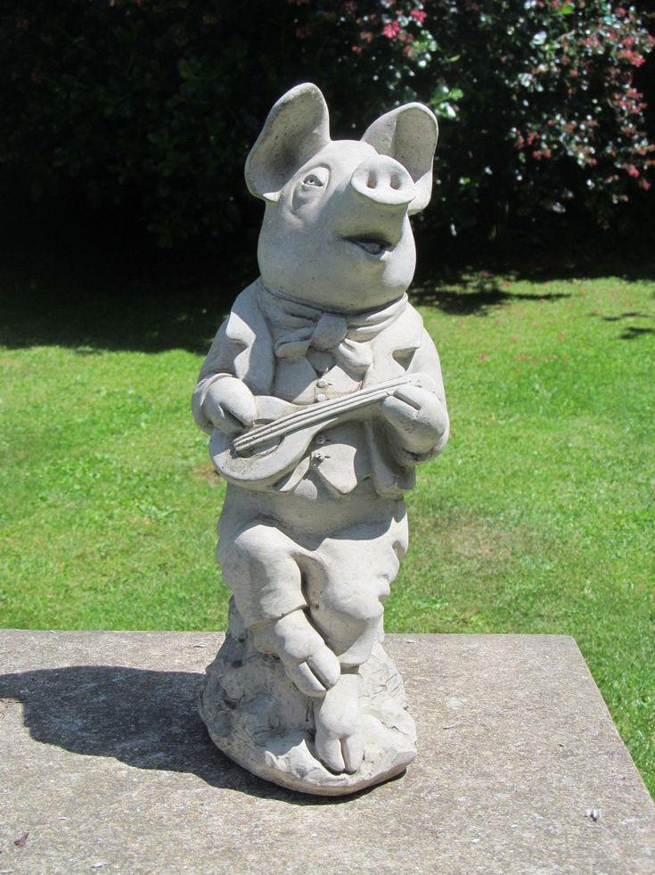 Mandolin Pig Garden Statue