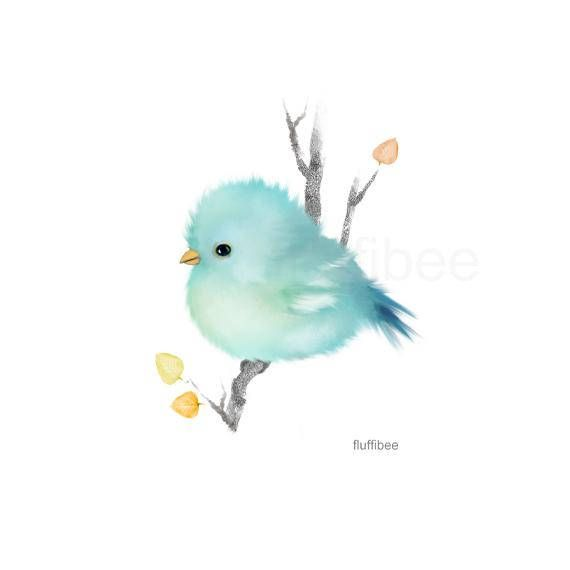 Bluebird prints, baby bird art, blue bird painting, baby animals, bird gift, baby shower gift, nursery wall art
