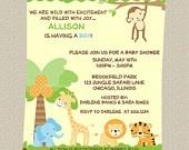 Zoo Baby Shower Invitations, Safari, Jungle Theme, Set of 10 with Envelopes, FREE Shipping. $8.50, via Etsy. baby-shower-animal-theme