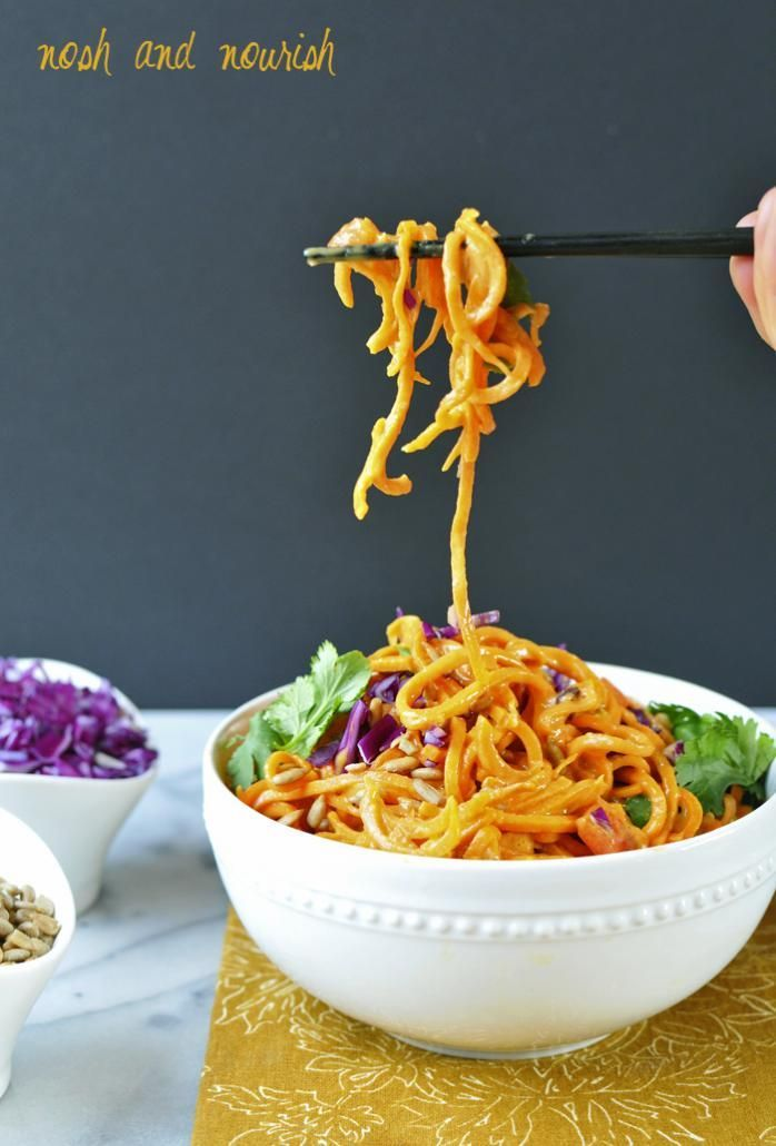 Paleo Pad Thai with Carrot & Sweet Potato Noodles // via Nosh and Nourish #grainfree #dairyfree #nutfree