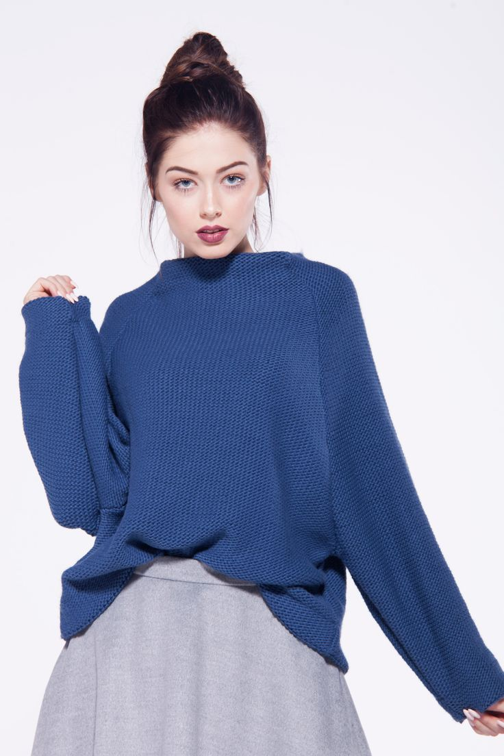 furelle # totallook #sweaterandskirt #blueandgrey #chic